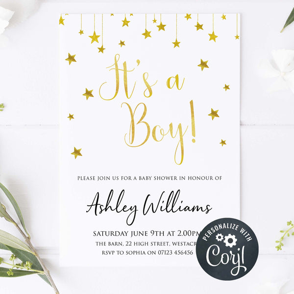 editable baby shower invites, its a boy baby shower invite, printable baby shower invitations, little star baby theme