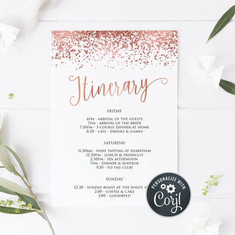 Editable Bridal & Bachelorette Itinerary - Rose Gold Foil