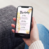 Digital Editable Itinerary Template - Gold Pineapple