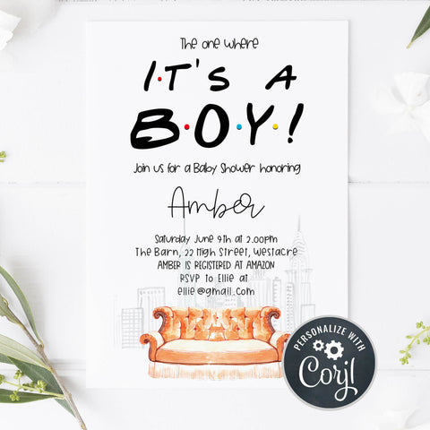 its a boy baby shower invite, friends baby shower invitation, baby shower invitations, editable baby shower invite, friends baby shower theme, friends
