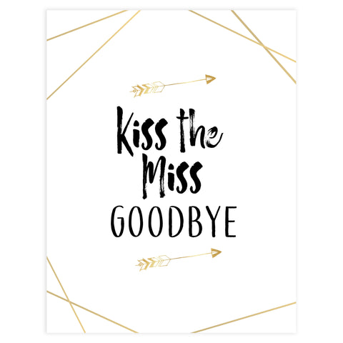 kiss the miss goodbye bride tribe print, printable bridal signs, kiss the miss goodbye, bride tribe bridal shower