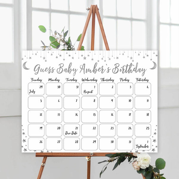 silver little star guess the baby birthday game, baby birthday predictions game, printable baby games, fun baby shower games, little star baby games