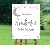 baby shower welcome signs, silver little star baby welcome signs, twinkle little star baby signs, silver baby welcome sign