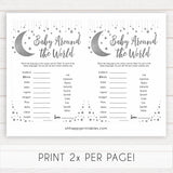 Silver little star, baby around the world baby games, baby shower games, printable baby games, fun baby games, twinkle little star games, baby games, fun baby shower ideas, baby shower ideas