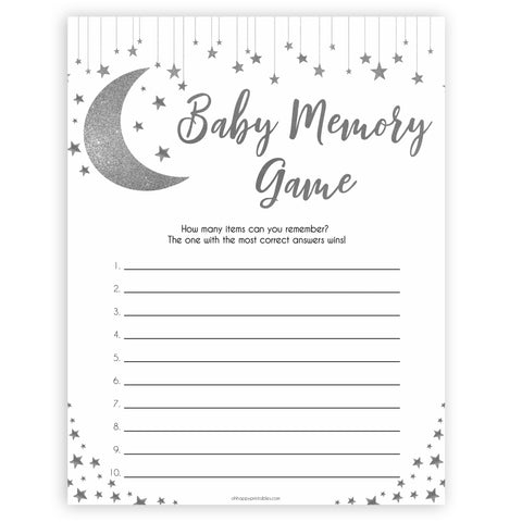 Silver little star, baby memory game, baby games, baby shower games, printable baby games, fun baby games, twinkle little star games, baby games, fun baby shower ideas, baby shower ideas
