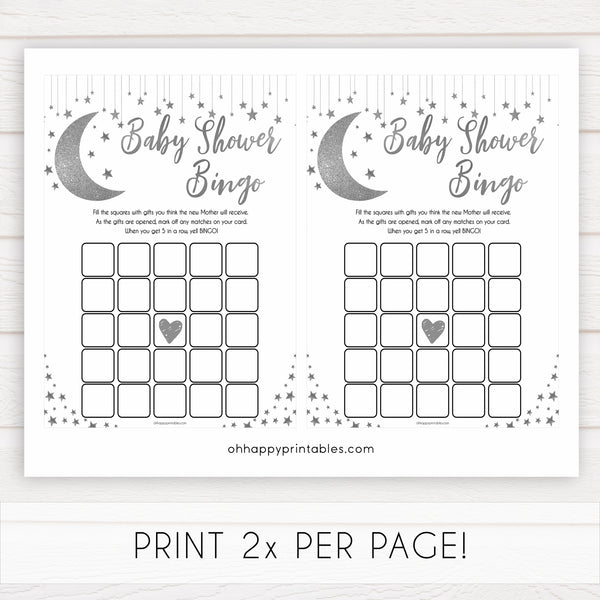 Silver little star, baby shower bingo baby games, baby shower games, printable baby games, fun baby games, twinkle little star games, baby games, fun baby shower ideas, baby shower ideas