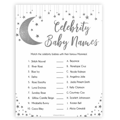 Silver little star, celebrity baby names baby games, baby shower games, printable baby games, fun baby games, twinkle little star games, baby games, fun baby shower ideas, baby shower ideas