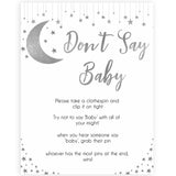 Silver little star, dont say baby baby games, baby shower games, printable baby games, fun baby games, twinkle little star games, baby games, fun baby shower ideas, baby shower ideas