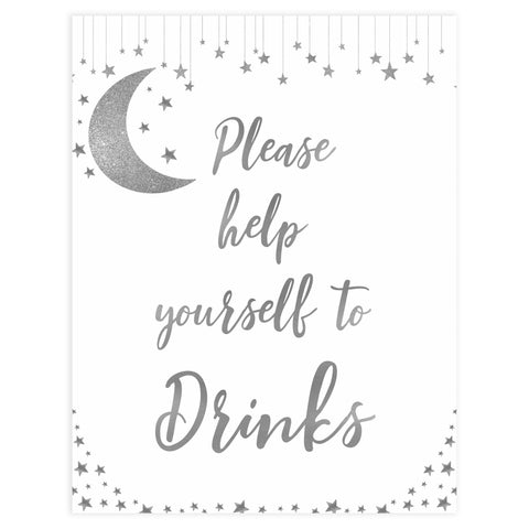 Drinks baby sign, Little star baby signs, printable baby signs, printable baby decor, twinkle baby shower, star baby decor, fun baby shower ideas, top baby shower themes
