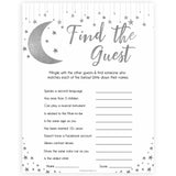 Silver little star, find the guest baby games, baby shower games, printable baby games, fun baby games, twinkle little star games, baby games, fun baby shower ideas, baby shower ideas