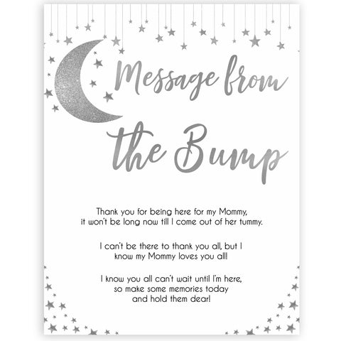 Silver little star, message from the bump baby games, baby shower games, printable baby games, fun baby games, twinkle little star games, baby games, fun baby shower ideas, baby shower ideas