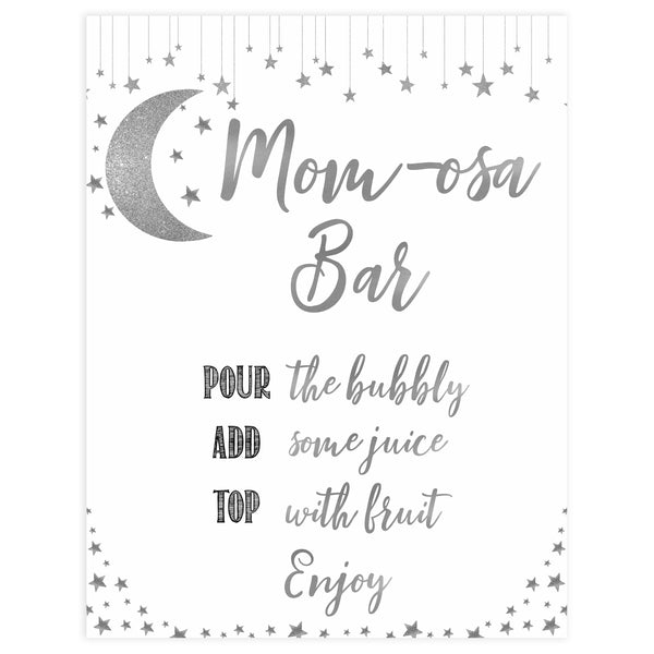 Momosa Baby Sign, Little star baby signs, printable baby signs, printable baby decor, twinkle baby shower, star baby decor, fun baby shower ideas, top baby shower themes