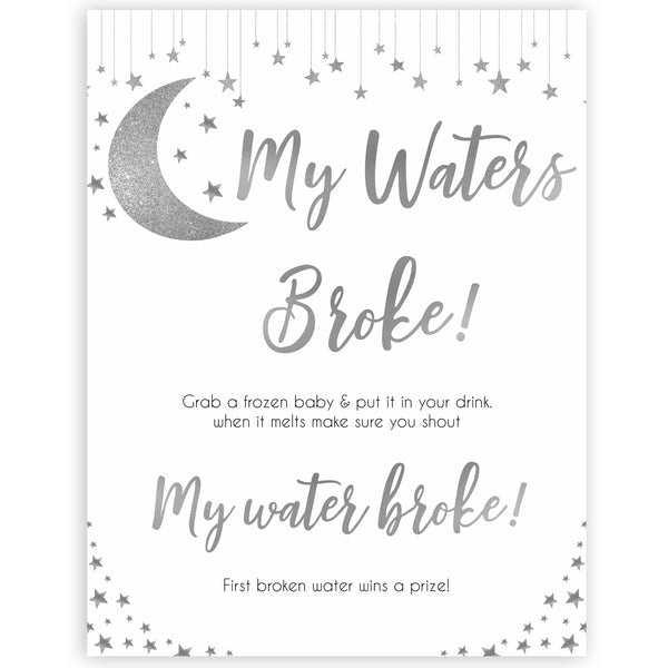 Silver little star, my waters broke baby games, baby shower games, printable baby games, fun baby games, twinkle little star games, baby games, fun baby shower ideas, baby shower ideas