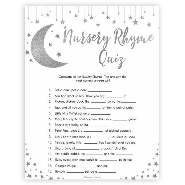 Silver little star, nursery rhyme quiz baby games, baby shower games, printable baby games, fun baby games, twinkle little star games, baby games, fun baby shower ideas, baby shower ideas