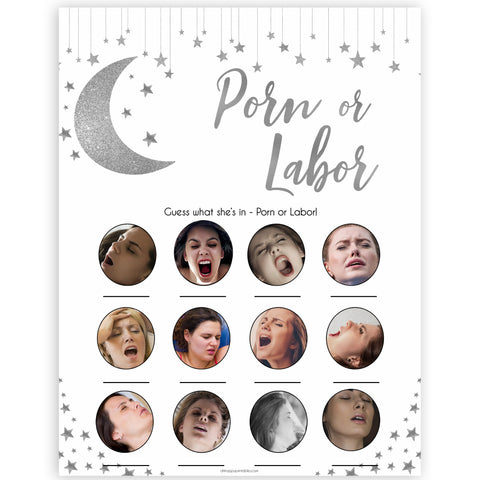 Silver little star, porn or labor, porn or labour baby games, baby shower games, printable baby games, fun baby games, twinkle little star games, baby games, fun baby shower ideas, baby shower ideas