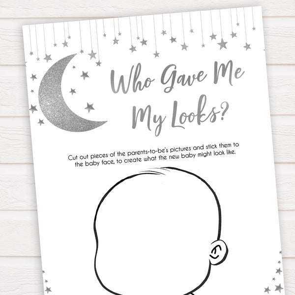 Silver little star, who gave me my looks baby games, baby shower games, printable baby games, fun baby games, twinkle little star games, baby games, fun baby shower ideas, baby shower ideas