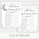Silver little star, who knows mommy best baby games, baby shower games, printable baby games, fun baby games, twinkle little star games, baby games, fun baby shower ideas, baby shower ideas