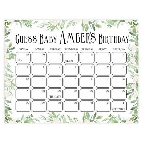 guess the baby birthday game, baby birthday predictions game, greenery baby game, fun baby shower games