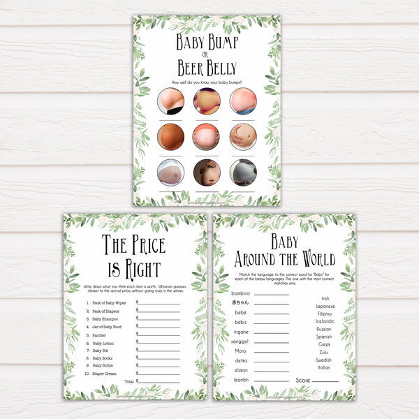 Greenery Baby Shower Games Pack, 7 Baby Shower Games Bundle, Botanical Baby Shower Games, Green Baby Shower Ideas, printable baby games, fun baby games, popular baby games