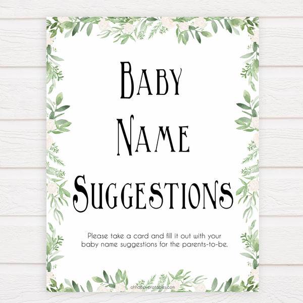 greenery baby name suggestion game, baby name suggestion keepsake, baby shower games, printable baby games, printable baby keepsake, fun baby games