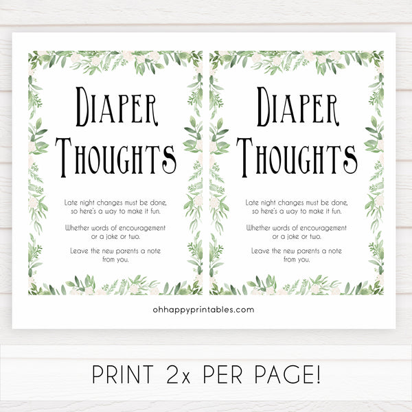 Diaper thoughts baby shower keepsake, diaper thoughts, nappy game, fun baby shower games, printable baby shower games, popular baby shower games