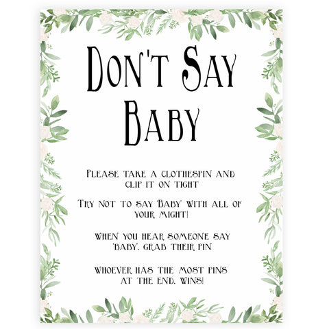 Green Leaf Don't Say Baby, Don't Say Baby Sign, Greenery Don't Say Baby Game, Green Baby Shower Games, Dont Say Game, Green Baby Shower, printable baby shower games, fun baby shower games, popular baby shower games
