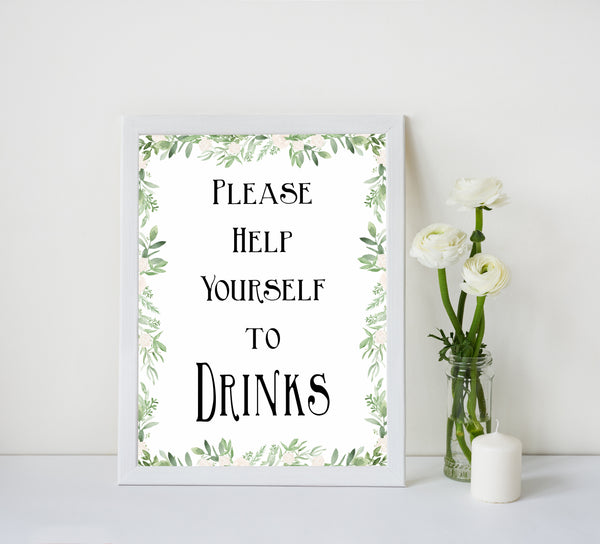 greenery drinks baby shower signs, printable baby signs, baby shower table signs, floral baby signs