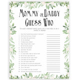 Mommy or Daddy Guess Who Baby Game, Printable Baby Shower Games,Greenery Baby Games, Floral Guess Who Baby Game, Mommy Daddy Guess Who, printable baby shower games, fun baby shower games, popular baby shower games
