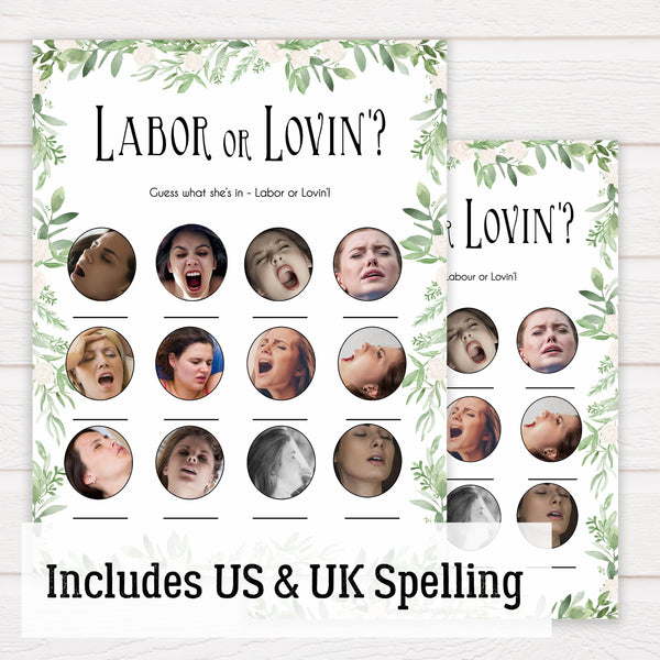 Green Leaf Labour or Lovin Game, Funny Baby Shower Games, Labour or Lovin, Instant Download, Lovin or Labor Game, Labor or Lovin Game, printable baby shower games, fun baby games, popular baby games