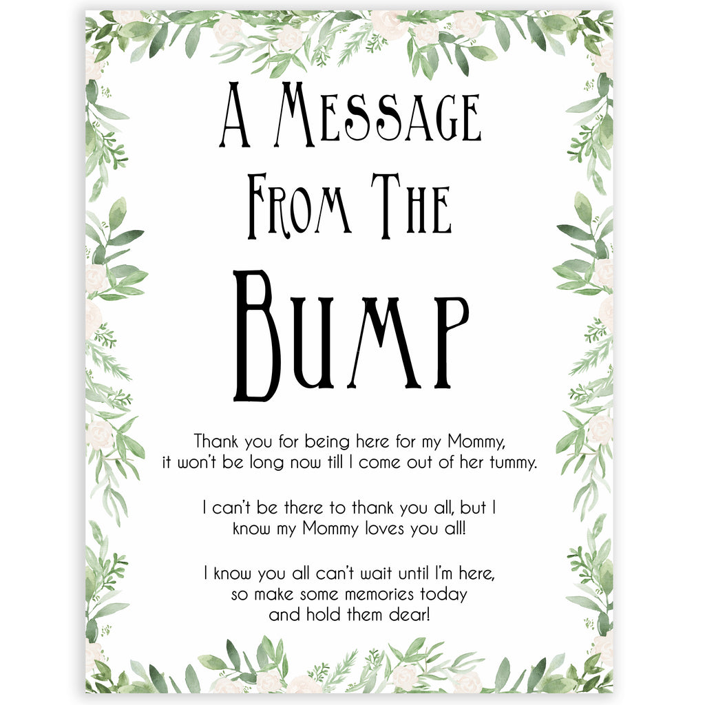 508380db767a8 A Message From The Bump - Greenery Printable Baby Shower Games ...