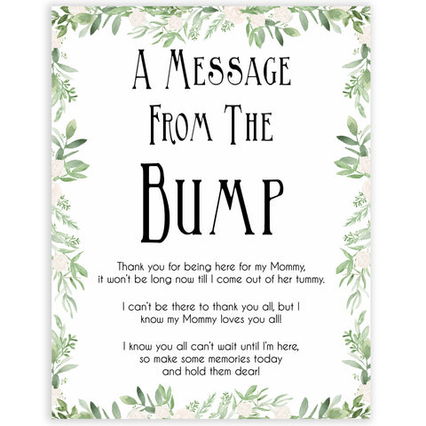 Greenery Message From Baby, Baby Shower Signs, Printable Baby Shower Signs, Baby Bump, Message From Bump, Floral Baby Signs, fun baby games, popular baby games
