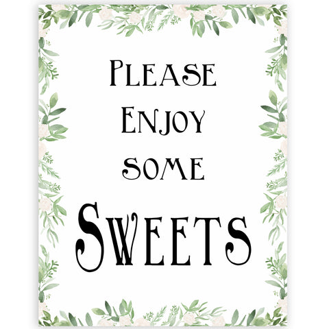 sweets baby table signs, Printable baby table signs, baby shower table signs, botanical baby table signs, baby shower decor, fun baby decor, printable baby decor