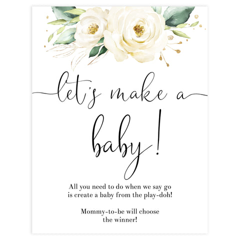 lets make a baby game, Printable baby shower games, shite floral baby games, baby shower games, fun baby shower ideas, top baby shower ideas, floral baby shower, baby shower games, fun floral baby shower ideas