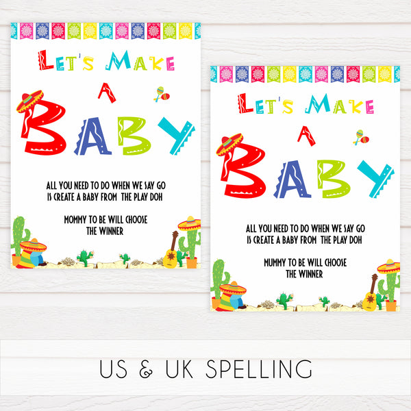 lets make a baby game, Printable baby shower games, Mexican fiesta fun baby games, baby shower games, fun baby shower ideas, top baby shower ideas, fiesta shower baby shower, fiesta baby shower ideas