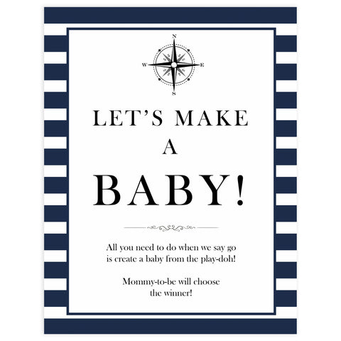 Lets make a baby sign, lets make a baby game, Printable baby shower games, nautical baby shower games, nautical baby games, fun baby shower games, top baby shower ideas