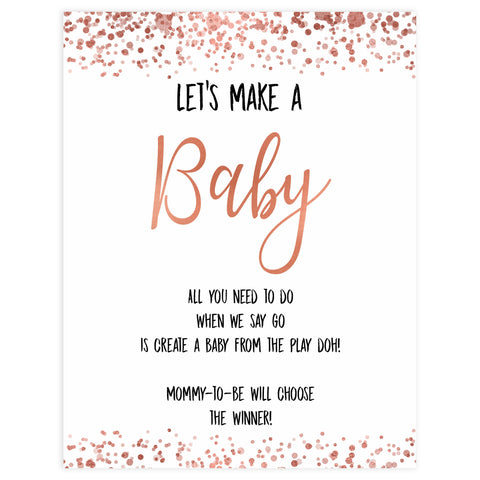 lets make a baby game, make a baby game, Printable baby shower games, rose gold fun baby games, baby shower games, fun baby shower ideas, top baby shower ideas, blush baby shower, rose gold baby shower ideas