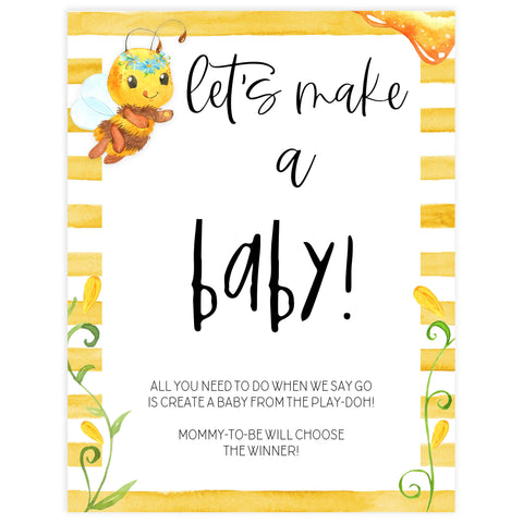 lets make a baby game, baby making game, Printable baby shower games, mommy bee fun baby games, baby shower games, fun baby shower ideas, top baby shower ideas, mommy to bee baby shower, friends baby shower ideas