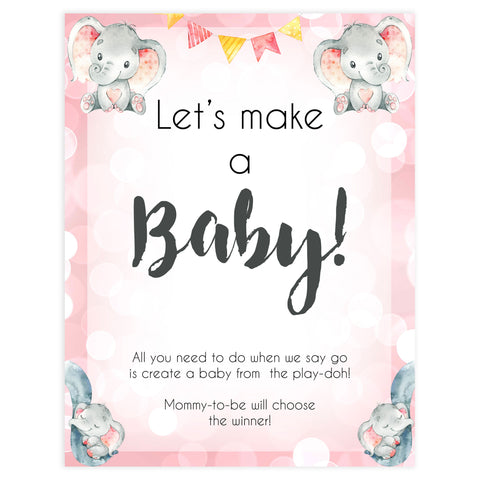 lets make a baby game, Printable baby shower games, fun abby games, baby shower games, fun baby shower ideas, top baby shower ideas, pink elephant baby shower, pink baby shower ideas