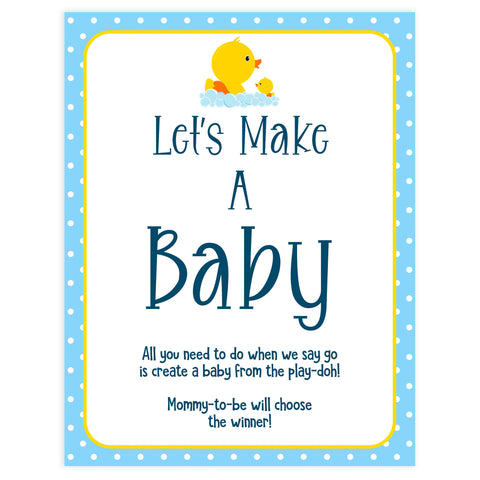 Rubber Ducky Baby Games, Lets Make A baby game, baby play-doh game, printable baby games, fun baby shower ideas, best baby shower games