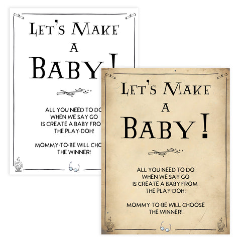Lets Make A Baby Game, Wizard baby shower games, printable baby shower games, Harry Potter baby games, Harry Potter baby shower, fun baby shower games,  fun baby ideas