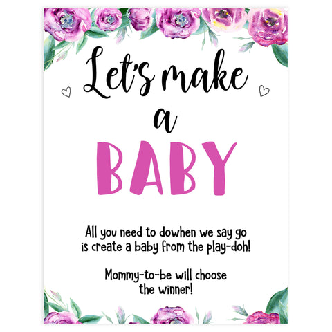 lets make a baby baby game, printable baby shower games, purple peonies baby games, fun baby shower games