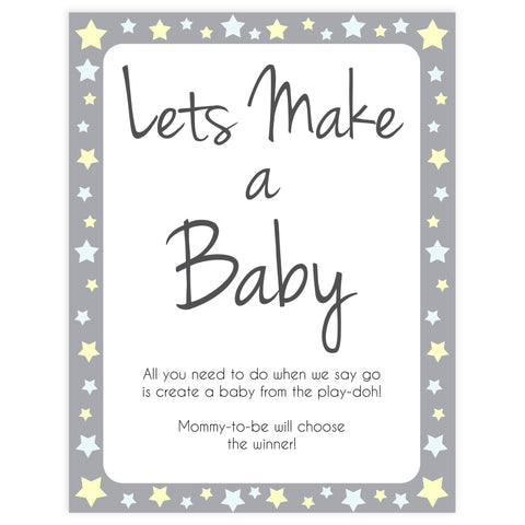 grey & yellow stars, lets make a baby, printable baby shower games, fun baby games, top baby shower games, star baby games, little star baby shower