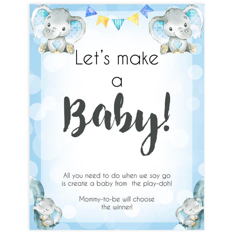 lets make a baby, baby play-doh game, Printable baby shower games, fun baby games, baby shower games, fun baby shower ideas, top baby shower ideas, blue elephant baby shower, blue baby shower ideas