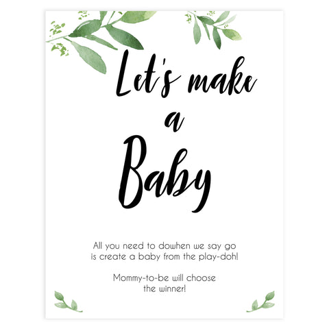 Lets Make A Baby Game, Printable baby shower games, botanical baby shower games, floral baby shower ideas, fun baby shower ideas