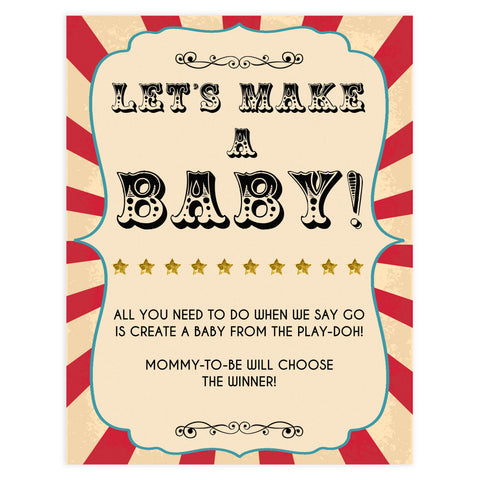lets make a baby game, make a baby game, Printable baby shower games, circus fun baby games, baby shower games, fun baby shower ideas, top baby shower ideas, carnival baby shower, circus baby shower ideas