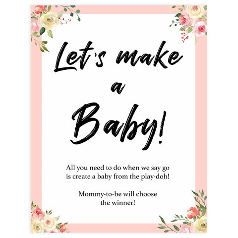 lets make a baby, making baby play-doh game, Printable baby shower games, floral fun baby games, baby shower games, fun baby shower ideas, top baby shower ideas, floral baby shower, blue baby shower ideas