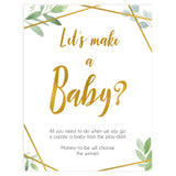 lets make a baby game, make a baby, Printable baby shower games, geometric fun baby games, baby shower games, fun baby shower ideas, top baby shower ideas, gold baby shower, blue baby shower ideas