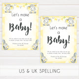 lets make a baby game, Printable baby shower games, fun baby games, baby shower games, fun baby shower ideas, top baby shower ideas, yellow elephant baby shower, blue baby shower ideas