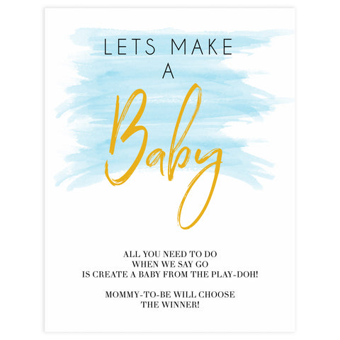 lets make a baby game, printable baby games, fun baby shower ideas, blue baby shower games, blue watercolor baby shower