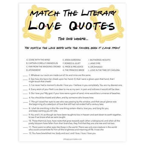 match the literary love quotes, Printable bridal shower games, friends bridal shower, friends bridal shower games, fun bridal shower games, bridal shower game ideas, friends bridal shower